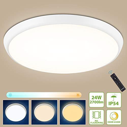 Oeegoo LED Deckenleuchte Dimmbar 24W 2700Lm (110LM/W), IP54 Wasserfest Led Deckenlampe mit Fernbedienung, Lichtfarbe und Helligkeit einstellbar, Led Deckenlampe Dimmbar als Nachtlicht, Badlampe, φ30cm