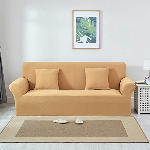 Funda de Fofá Elástica,Funda de sofá jacquard gruesa de color puro, funda protectora de muebles antideslizante elástica, funda de cojín antiincrustante para sofá de sala de estar-Khaki_90-140cm