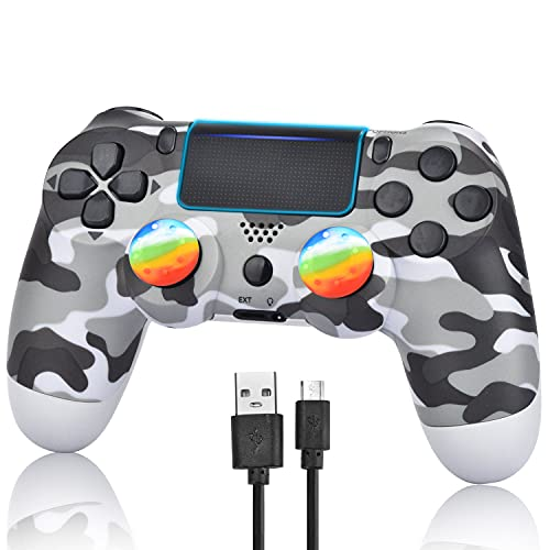 YU33 Wireless Controller Compatible with P - 4 with 1 Cables and 2 Rainbow Caps with Touch pad