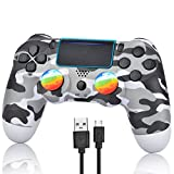 YU33 Camo Gray Wireless Controller Compatible with P - 4 with 1 Cables and 2 Rainbow Caps with Touch pad/Double Shock…