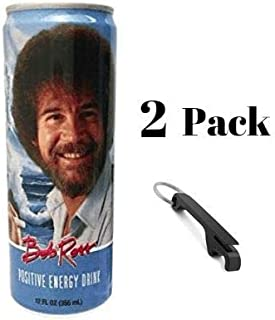 Bob Ross Positive Energy Drink (2 pack) Bundled with Keychain Bottle Opener in a Prime Time Direct Sealed Bag