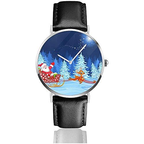 Chirstmas Trineo de Papá Noel Reloj Unisex Reloj Deportivo Banda de Cuero PU Relojes de Pulsera de Acero Inoxidable de Cuarzo