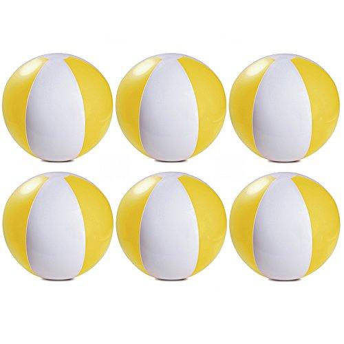 eBuyGB Packung mit 6 aufblasbaren Farben Wasserball Pool-Spiel, Gelb, 22 cm / 9