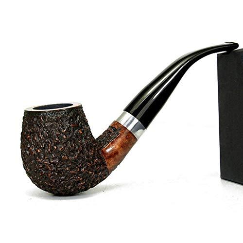 LIULU Pipas de Tabaco terminados por Fumar Hecho a Mano Briar Madera Retro clsico Duradero doblado Pipa de Fumar (Color : Deep Carving)