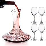 Mafiti Decantador de vino con copas incluídas (cuatro copas de cristal). Jarra...
