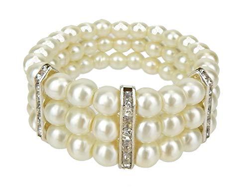 Ella Jonte Perlenarmband Elfenbein Silber Armband elastisch Braut Hochzeit Party
