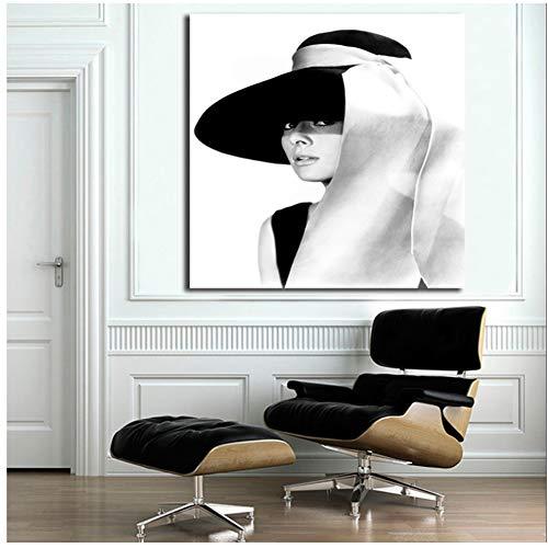 sjkkad Audrey Hepburn Hut Zitat Minimalistische Kunst Leinwand Poster Print Abstrakte Malerei Schwarz Weiß Wandbild Moderne Wohnkultur -50x50cm Kein Rahmen