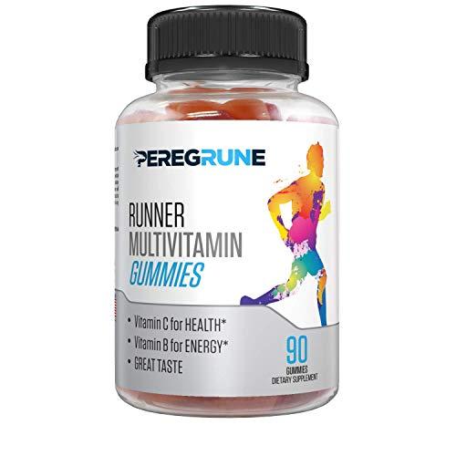 PEREGRUNE Runner Vitamin Gummy: Engineered Multivitamin for Runners | Antioxidants for Health & Recovery | Vitamin B for Running Endurance, Energy | 50% Less Sugar | Great Taste | Gluten Free