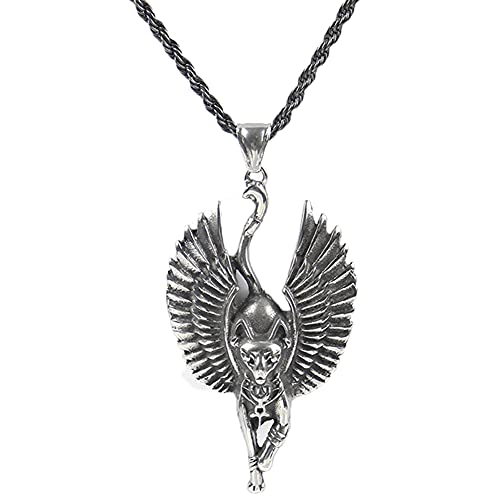 Collar de Tótem de Cabeza de Calavera Punk Vikingo Retro, Alas de Dios Gato Amuleto Colgante de Joyería, Acero Inoxidable para Hombres