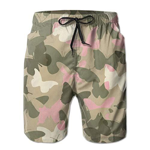 136 Pink Butterfly Camo Mens Swim Trunks Quick Dry Sports Beach Surf Running Swim Board Shorts