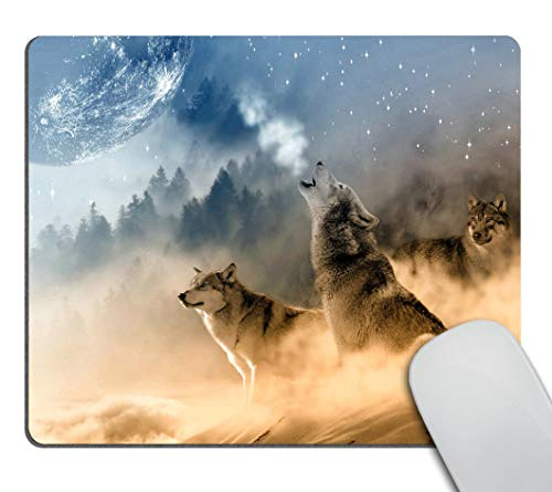 Smooffly Gaming Mouse Pad Custom,The Wolf and The Moon Mousepad Non-Slip Rubber Gaming Mouse Pad Rectangle Mouse Pads for Computers Laptop