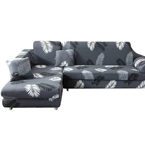 Ryoizen Funda de sofá con chaise longue elástica para sofá esquinero chaise longue a la izquierda derecha lavable componible de poliéster en forma de L (negro pluma, 2 plazas + 3 plazas)