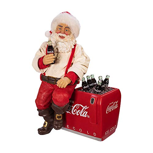 Kurt S. Adler Kurt Adler Coca-Cola Weihnachtsmann sitzend auf Kühler Tisch, Mehrfarbig