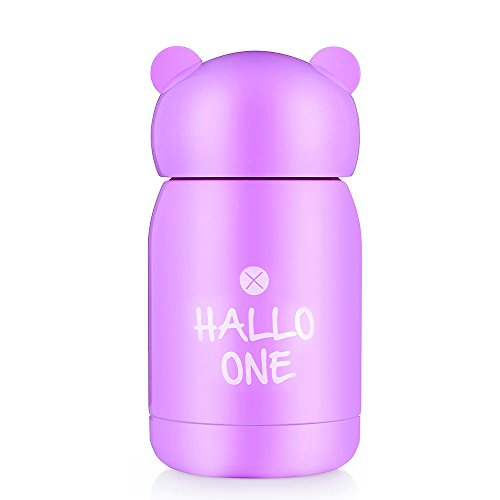 ONE IS ALL Portable Mini Bear Travel Thermos Mug for Kids, Vacuum Insulated Stainless Steel Coffee Thermos & Vacuum Flask, 145ML (Purple)