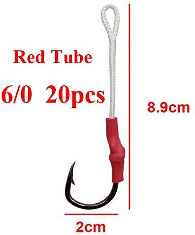 CUSHY ea 20 pc 10827 Red Black Tube tainle Teel Jig AIT Jigging AitFihing with PE Line  Red Tube 6I0 20pc