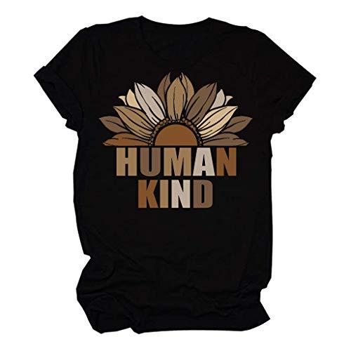 DressLksnf Dames T-shirt Ronde hals Korte mouw Letters Print Verschillende Huid Kleur Zomer Tops Blouse Polos Jurk