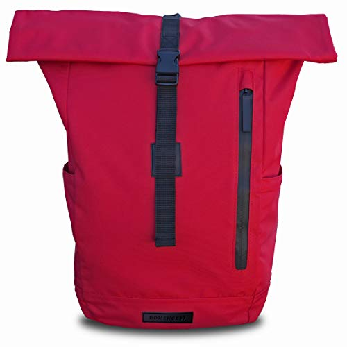 Bomence Rolltop Rucksack Damen & Herren rot, ULTRA LEICHTER Fahrradrucksack aus recycelten PET Flaschen, Urban Roll Top Backpack, wasserresistent mit Laptopfach