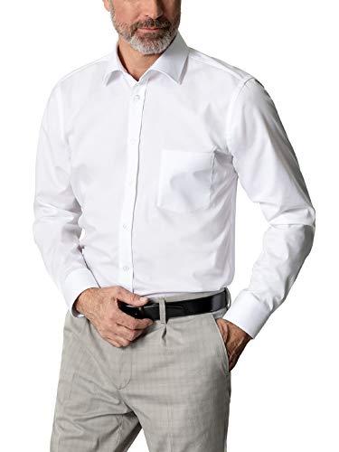 Walbusch Herren Hemd Business Naturstretch einfarbig Weiß 42 - Langarm