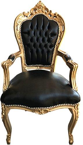 Casa Padrino Barock Esszimmerstuhl Schwarz/Gold Lederoptik mit Armlehnen - Esszimmer Stuhl Möbel