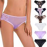 Curve Muse Pack of 6 Sexy Sheer Lace Tanga Hipster Bikini Panties-PACKA-M/6