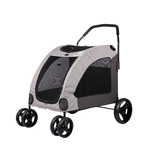 Kays Pet Travel Stroller Dog Stroller Cat Stroller,Pushchair Pram Jogger Buggy With 4 Wheels (Color : Gray)
