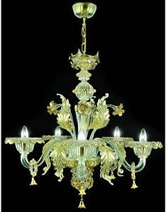 Pegaso - Lámpara de araña de cristal de Murano hecha a mano, color dorado