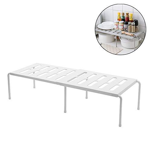 FZX514 Etagere De Rangement sous Evier Rack Extensible Organisateur pour Cuisine Salle De Bain Chambre Salon Longueur Reglablecapacite De Charge De 14 Kg,Blanc