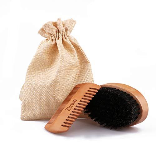 Bartbürste & Bartkamm, Bartbürste mit Wildschweinborsten und Comb Set für die tägliche Bartpflege & das Auftragen von Bartöl, aus Walnuss- & Birnbaumholz