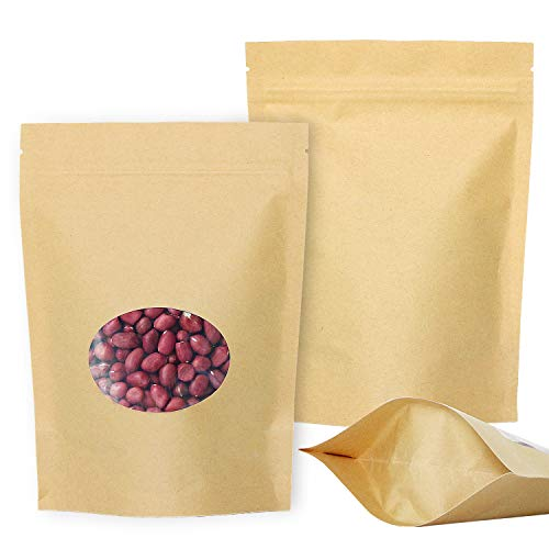 SumDirect 50 Stk Zip Kleine Papier Beutel Mit Fenster,PapierTüten Kraftpaiper mit Boden für Weihnachten Süßigkeiten Verpackung von Kaffee,Tee Lebensmittel und Snack (14 x 19 cm)