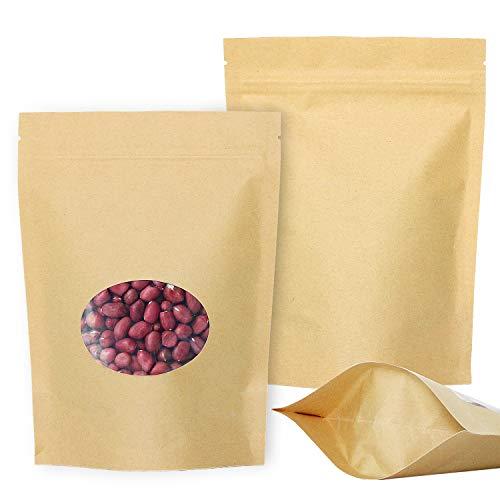 SumDirect 14x19 cm Bolsas de papel Kraft de Cierre con cremallera, bolsas de alimentos con sellado reutilizables, con ventana transparente y muesca para almacenar, galletas, alimentos secos, refrigerios, paquete de 50