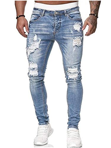 Jeans Vaqueros Pantalon Pantalones Vaqueros Ajustados con Arrugas Elásticas para Hombre, Pantalones De Tubo, Pantalones De Mezclilla Ajustados, Pantalones De Harén con Cintura Elástica para
