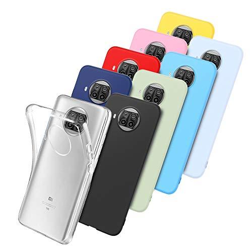 E-Lush 9 x Funda para Xiaomi Mi 10T Lite Carcasa Suave Silicona, Caso Ultra Delgado Soft Gel TPU Goma Case Cover, Negro, Azul Oscuro, Rojo, Azul Cielo, Rosa, Amarillo, Púrpura, Verde, Transparente