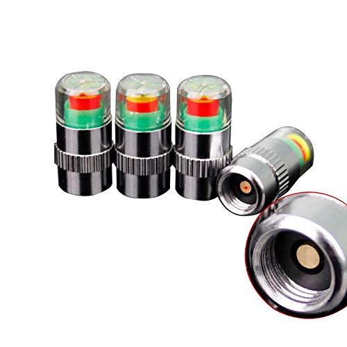 QCQiMM Adecuado para Sedan Tapa de válvula de Monitor de presión de neumáticos de Tres Colores 4 Piezas Tapa de Advertencia antirrobo de Coche, estándar