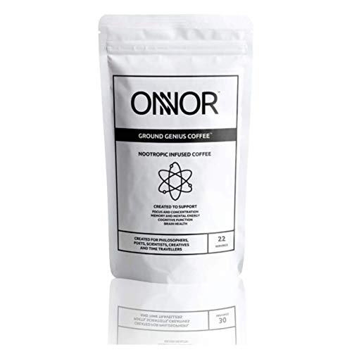 Onnor Ground Genius Coffee, Nootropic Infused Ground Coffee, Smart Coffee, Improve Focus, Memory, Cognitive Function and Assist Brain Health
