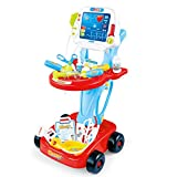 Play Doctor Kit for Kids - Pretend Medical Station Set with 17 Accessories,Mobile Cart,LED EKG,Thermometer,Stethoscope,Pulse Machine for Childs Boys & Girls (Red)