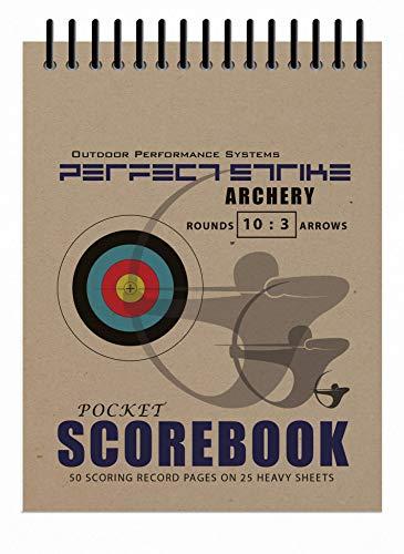 Perfect Strike Scorebook für Bogenschießen, mit Regeln und Anleitung, strapazierfähig, ideal zum Üben und für Wettkämpfe, 10 runde und 3 Pfeil-Punkteblätter., natur