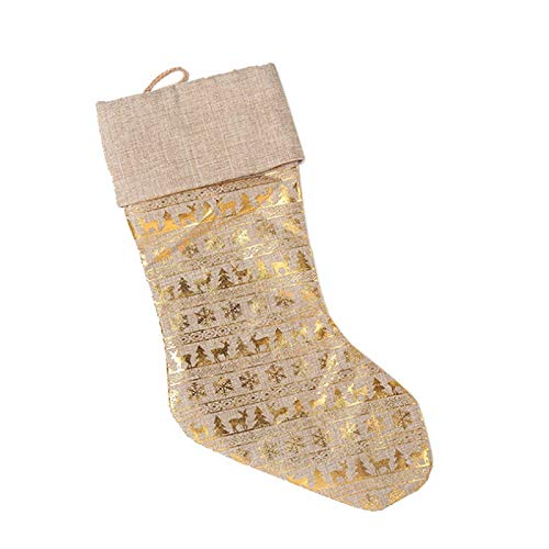 letaowl Medias de Navidad de oro Papá Noel calcetín regalo caramelo bolsa de ciervo bolsillo Navidad Deco