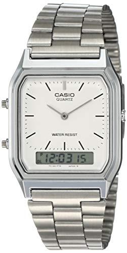 Casio Collection Herren Analog/Digital Quarz mit Edelstahlarmband – AQ-230A-7BMQYES, Silber (Zifferblatt: Weiß)