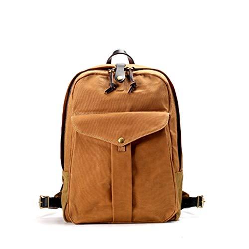 A-hyt Cómoda y cómoda mochila vintage de lona de cera castigadora unisex para ordenador de viaje fácil senderismo (color caqui, tamaño: XL)
