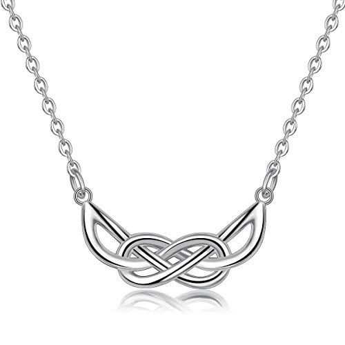 Women Necklaces, 925 Sterling Silver ''Celtic Eternal Knot'' Pendant Necklace, 18'' Rolo Chain AEONSLOVE Jewellery Gifts for Her Ladies Wife Girls (183)