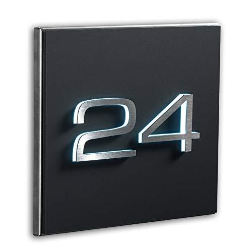 Metzler Individuelle Hausnummer matt in Anthrazit neu - 3D Design - Edelstahl massiv & nicht rostend - LED-Beleuchtung - alle Zahlen - direkt vom Hersteller