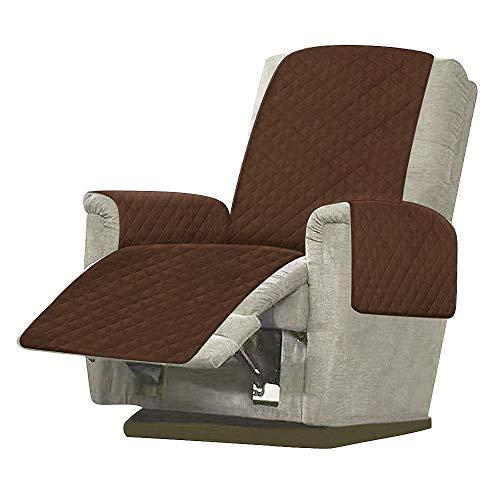 Windyeu Funda de sillón relax reclinable y acolchada para sofá de 1 plaza, funda universal de 1 plaza, antimanchas, antiarañazos (marrón)