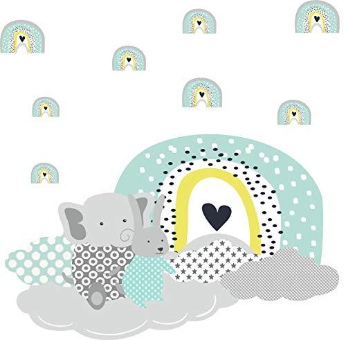 greenluup Wandsticker Wandtattoo Elefant Wolken Regenbögen Grau Mint Baby Mädchen Junge Kleinkind Kinderzimmer