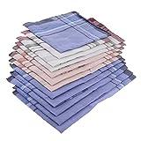 NJZYB 12x hombres plaids algodón bolsillo pañuelos cuadrados pañuelos vintage hombres rayas 36 x 37cm (Color : A, Size : 4.17 x 13.78 inch)