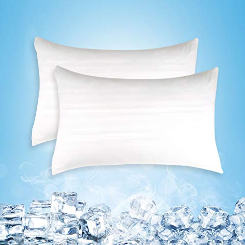 Cooling Pillow Cases, Queen Size Set of 2 with Double Sided Cold, Moisture Wicking Pillowcase Covers with Hidden Zipper Japanese Cold Tech Pillow Case Protectors for Hot Sleepers and Night Sweats
