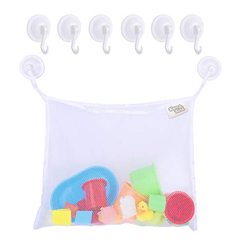 Bath Toy Organizer Set - 2 Extra Large Mesh Bags - 6 Extra Strong Grip Lock Suction Cup Hooks (White) - Easy Storage of Bath Toys and Other Bathroom Items - Mesh Bags Allow Content to Dry