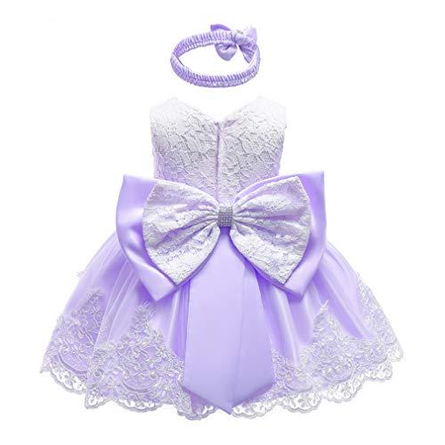 Gaga city Mädchen Bowknot Spitze Prinzessin Kleid Blumenmädchenkleid Taufkleid Festlich Kleid Hochzeit Geburtstag Partykleid Festzug Babybekleidung Outfits Lila/12M