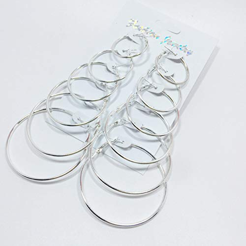 Losenlli 6 Pares/Set Pendientes de aro de círculo Grande de Moda para Mujeres Partido Damas Pendientes joyería de Moda Exquisito Clip de Oreja