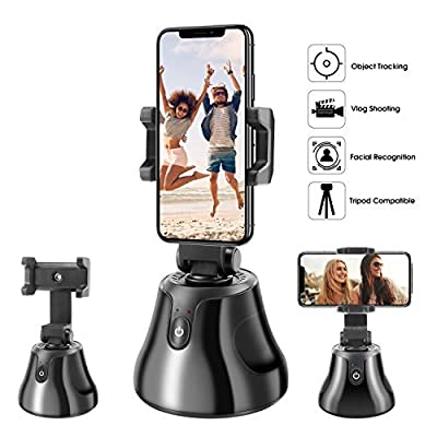 Upgraded 2020 Newest All-in-one Selfie Video Smart Shooting Camera Automatically Face Object Tracking 360°Horizontal Rotation Phone Holder Mount, Compatible with iPhone Android Cell Phone
