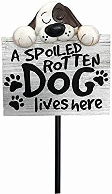 Spoontiques 21232 Spoiled Rotten Dog Garden Stake, Multicolored